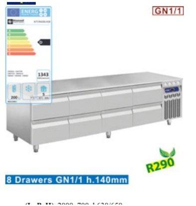 Diamond Soubassement Réfrigéré | INOX | 8 Tiroirs GN 1/1 h.100 mm | 2000x700x(h)630/650mm | DELUXE