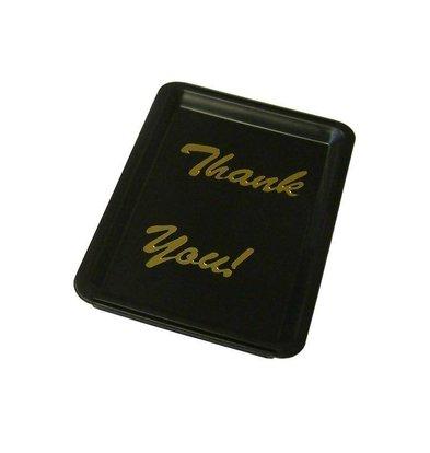 Bar Professional Plateau | avec Inscriptions 'Thank You' | Lettres Dorées | Noir | 160x110x(h)15mm