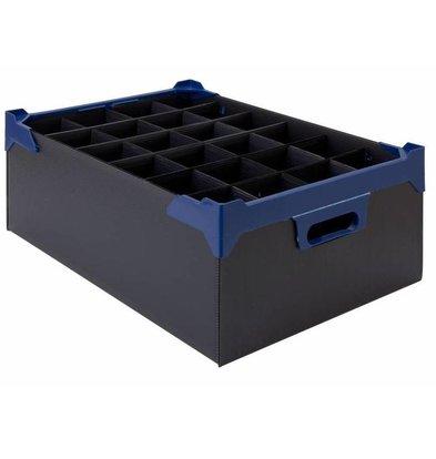 Bar Professional Coffret pour 24 Verres    5 pièces Noir   500x345x200mm