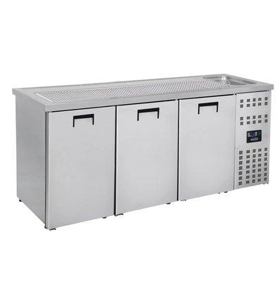 Combisteel Refroidisseur de Bière | 3 Portes | Evier à Droite (300x500mm) | 2100x700x(H)960mm