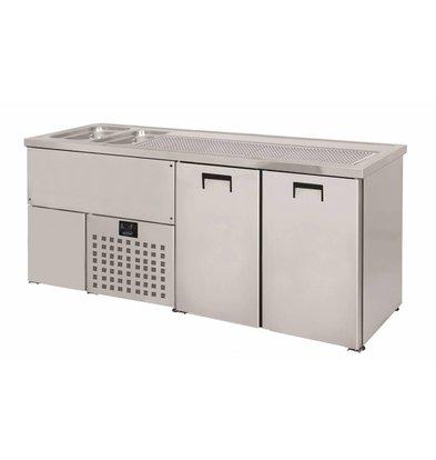 Combisteel Refroidisseur de Bière | 2 Portes | Double Evier à Gauche (300x500mm) | 1950x700x(H)960mm