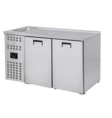 Combisteel Refroidisseur de Bière | 2 Portes | avec Evier à Gauche (300x500mm) | 1550x700x(H)960mm