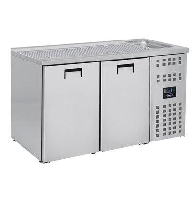 Combisteel Refroidisseur de Bière | 2 Portes | avec Evier à Droite (300x500mm) | 1550x700x(H)960mm