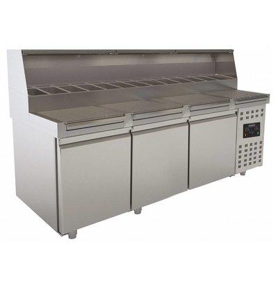 Combisteel Table de Préparation pour Pizza | 3 Portes | avec Vitrine | 720 Litres | 2230x830x(H)1360mm