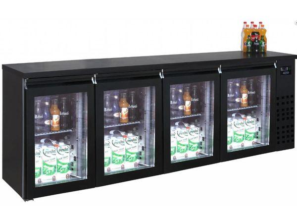 Combisteel Réfrigérateur de Bar   Noir    4 Portes en Verre   680 Litres   2490x550x(H)950mm