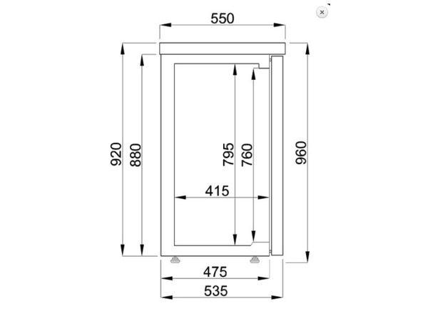 Combisteel Réfrigérateur de Bar | Noir  | 2 Portes en Verre | 320 Litres | 1380x550x(H)950mm