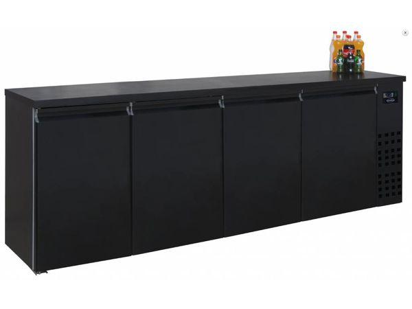 Combisteel Réfrigérateur de Bar | Noir | 4 Portes | 680 Litres | 2490x550x(H)950mm