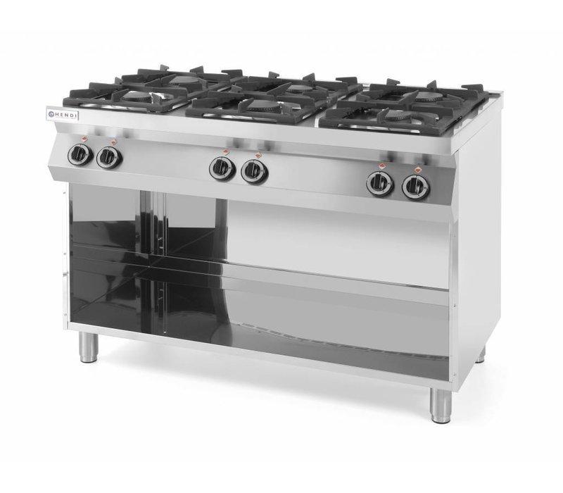 Hendi Cuisinière Kitchen Line |  6 Feux | 3 x 3,5 kW + 3 x 6 kW | Soubassement Ouvert | 1200x700x(H)900mm