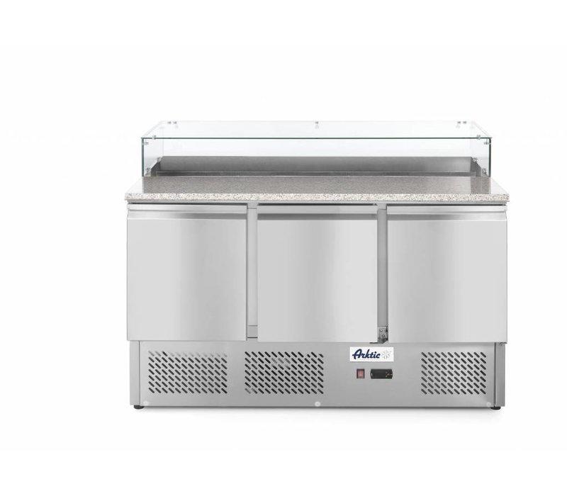 Hendi Comptoir à Pizza | 3 Portes | avec Vitrine Réfrigéré | 8x GN 1/6 | 1360x700x(H)1120mm