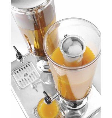Hendi Distributeur Double de Jus de Fruits | Refroidissement par Glaçons | 2x 3 Litres | 415x315x(H)490mm