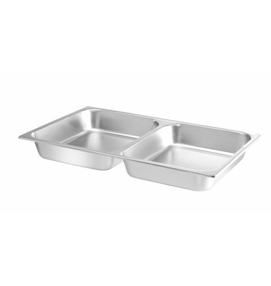 Hendi Bacs pour Chafing Dish   GN 1/1   2 Compartiments   2x 3,75 Litres   530x325x(H)65mm