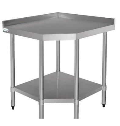 Vogue Table d'Angle Inox + Étagère Basse | 800x600x960(h)mm