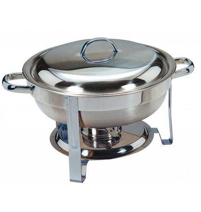 Saro Mini Chafing Dish   Inox Poli   Rond   4 Litres   Ø340x(H)250mm