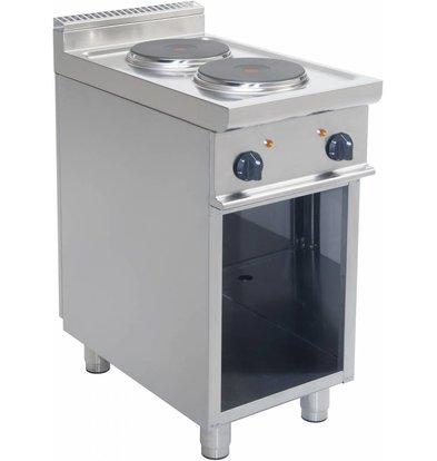 Saro Cuisinière Electrique | 2 Feux | Soubassement Ouvert | 2 x 2,6 KW | Inox | 400V | 400x700x(H)850 mm