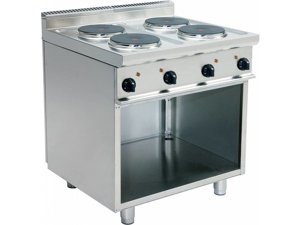 Saro Cuisinière Electrique | 4 Plaques | Soubassement Ouvert | 4 x 2,6 KW | Inox | 400V | 800x700x(h)850mm