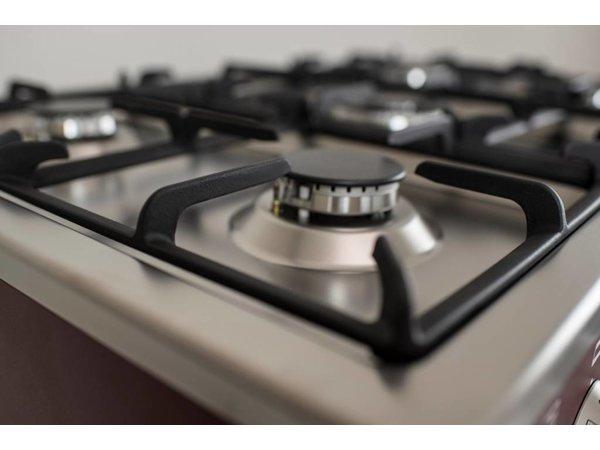 Saro Cuisinière à Gaz sur Four Electrique | Rouge | 5 Feux | Grill Electrique | 230V | 900x600x(h)850mm