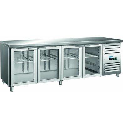 Saro Comptoir Réfrigéré | 4 Portes | 616L | Portes Vitrées | 2237x700x890(h)mm