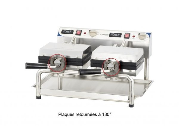 Casselin Gaufrier Double Rotatif | Gaufres de Bruxelles | 3600W | 585x580x(H)305mm