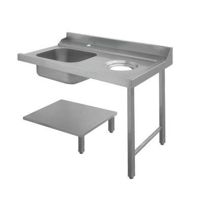 Bartscher Table de Tri | Avec Evier|  À Gauche |Avec orifice pour les déchets | Inox 18/10 | 1200X720X(h)850mm