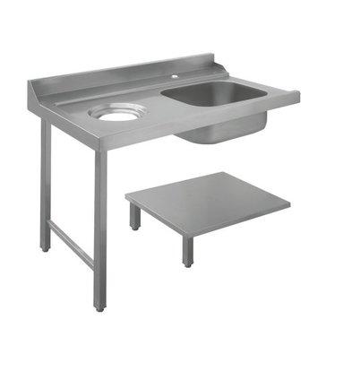 Bartscher Table de Tri | Avec Evier|  À Droite |Avec orifice pour les déchets| Inox 18/10 | 1200X720X(h)850mm