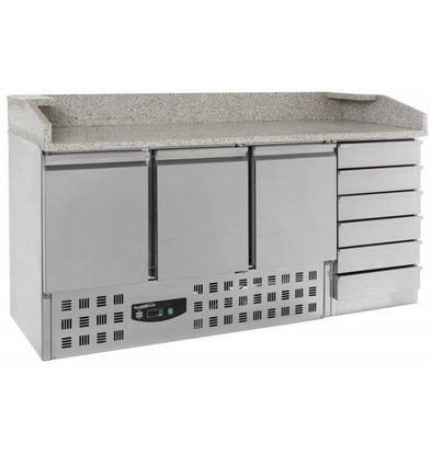 Combisteel Comptoir à Pizza | 3 Portes 6 Tiroirs  | 230 V | 1885X700X(h)1060mm