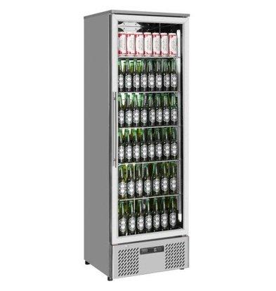 Combisteel Réfrigérateur  Porte Vitrée   293 Litres   en Inox   Eclairage  LED   600x515x1820mm
