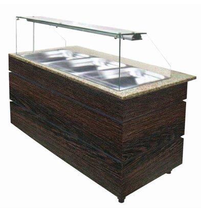 Combisteel Buffet Chaud | Couleur WENGE | 3x 1/1 GN | 1250x800x(h)1355mm | Disponible en Plusieurs Tailles