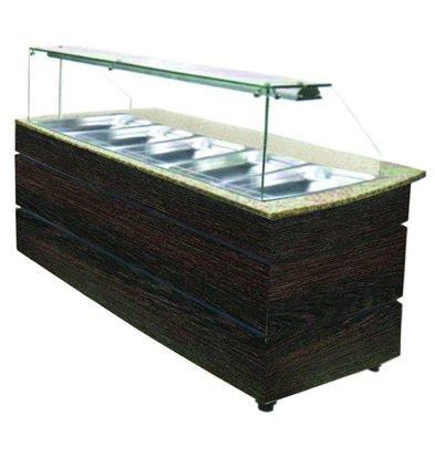Combisteel Buffet Chaud | Couleur WENGE | 5x 1/1 GN | 1890x800x(h)1355mm
