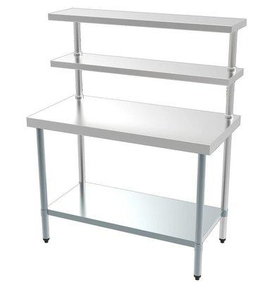 Combisteel Table de Travail | Avec Etagère |45 Kilos| 1200x600x(h)1500mm|Disponible en Plusieurs Tailles