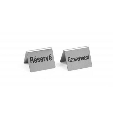 Hendi Chevalet de Table | Réservé | Inox | 50x40mm | Lot de 4 Pièces