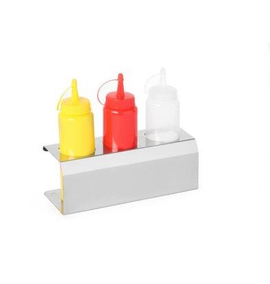 Hendi Support Sauce | Inox | Convient pour 3 Flacons 70 cl | 274x102x(h)98mm