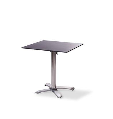 XXLselect Table de Fête | Basse | Pied en Aluminium | Plateau de Table Stratifié | Noir | 700x700mm | Lot de 5 Pièces