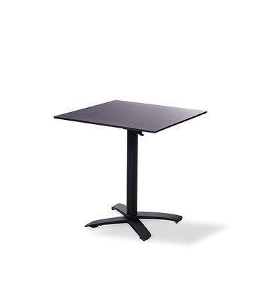 XXLselect Table de Fête | Basse | Pied Noir | Plateau de Table Stratifié | Noir | 700x700mm | Lot de 5 Pièces
