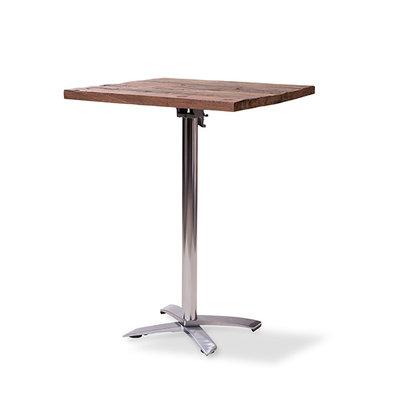 XXLselect Table de Fête | Haute | Pied en Aluminium | Plateau en Bois | Carré | 800x800mm | Lot de 5 Pièces