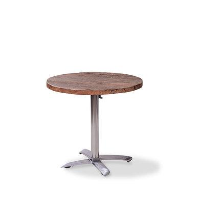 XXLselect Table de Fête | Basse | Pied en Aluminium | Plateau en Bois | Rond | ø800mm | Lot de 5 Pièces