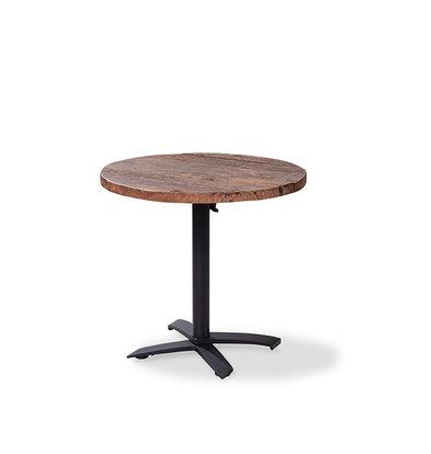 XXLselect Table de Fête | Basse | Pied Noir | Plateau en Bois | Rond | ø800mm | Lot de 5 Pièces
