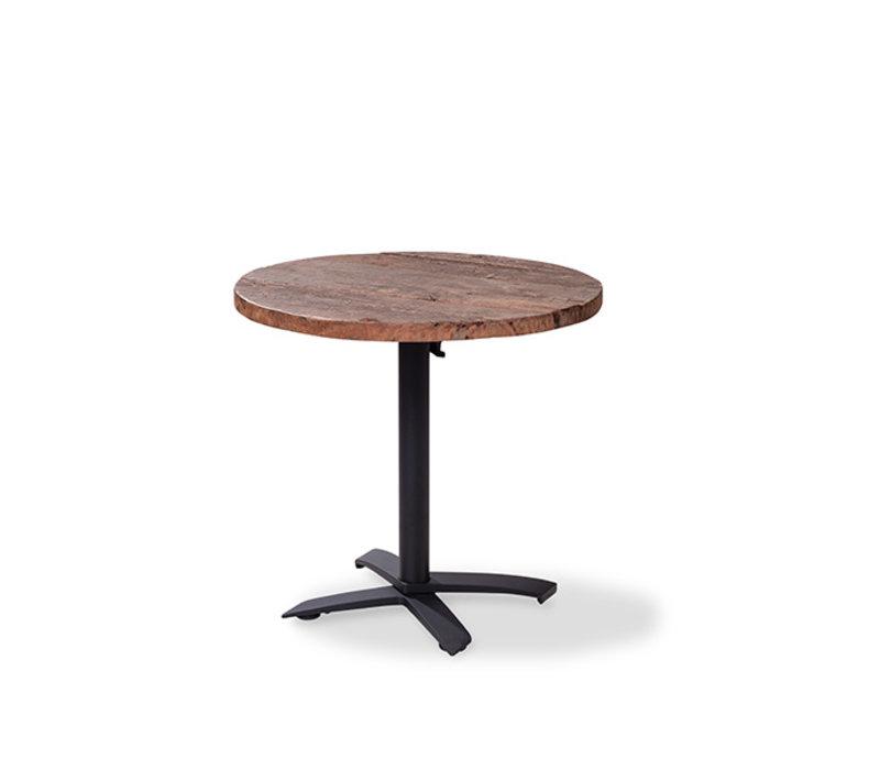 CHRselect Table de Fête | Basse | Pied Noir | Plateau en Bois | Rond | ø800mm | Lot de 5 Pièces