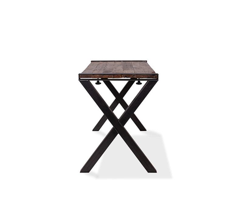 XXLselect Table Haute | Modèle Old Dutch | Cadre en X en Acier | Plateau en Bois | 1800x800x(h)1100mm