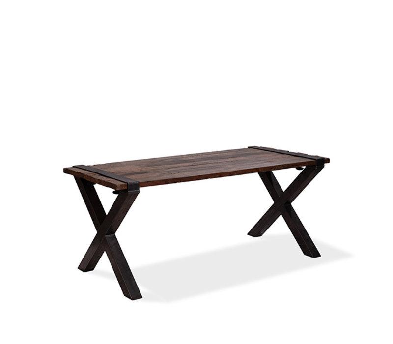 Xxlselect Table Basse Modele Old Dutch Cadre En X En Acier Plateau En Bois 1800x800x H 760mm