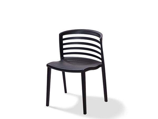 XXLselect Chaise Riviera | Noir | Plastique | 490x490x(h)760mm | Lot de 4 Pièces