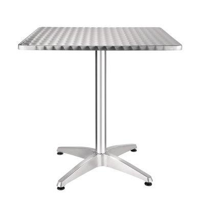 CHRselect Table Bistro Carrée | Plateau Inox | Pied Aluminium | 700x700x720(h)mm