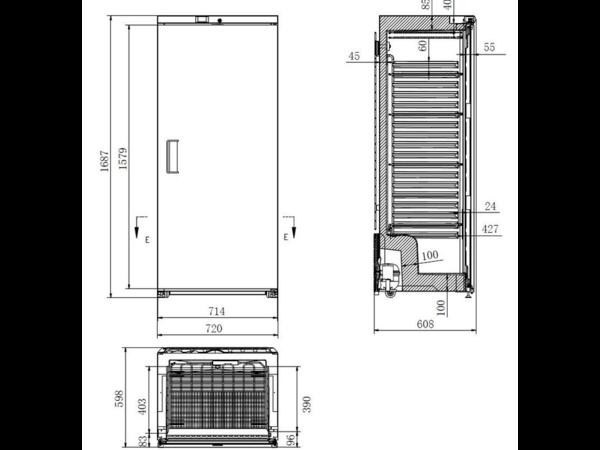 Combisteel Congélateur Boulangerie | Inox + ABS | 265 Litres | Convient pour 600x400mm | 740x680x (H) 1800mm
