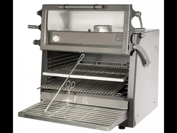 Diamond Barbecue à Charbon de Bois | en acier inoxydable | GN1 / 1 + GN2 / 4 | 75 kg / h | Porte Relevable | 900x722 / 953x (H) 690/840 mm