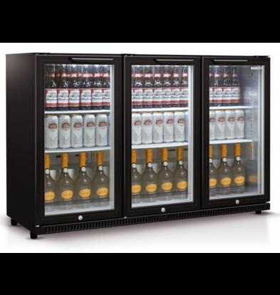 Husky Arrière Bar Réfrigérateur | 3 Portes Noir | 301 Litres | Éclairage LED | 1350x520x865 (h) mm