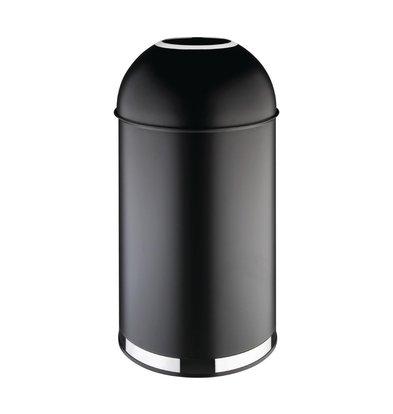 Bolero Poubelle Dôme Ouverte | Acier | Noir | 40 Litres | Ø360x(H)720mm