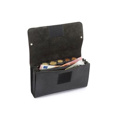 Pavelinni Portefeuille pour Restauration | Cuir | 4 Compartiments + Porte-Monnaie | avec Ceinture en Nylon | 190x100x20mm