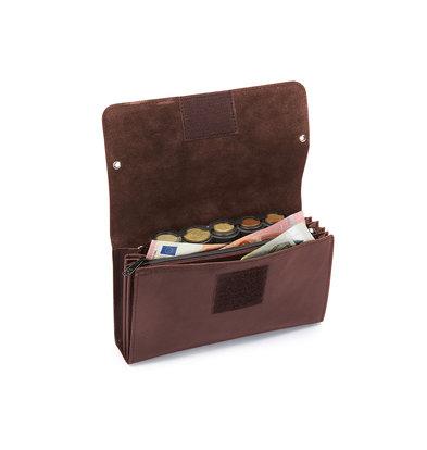 Pavelinni Portefeuille pour Restauration | Marron | Cuir | 4 Compartiments + Porte-Monnaie | avec Ceinture en Nylon | 190x100x20mm