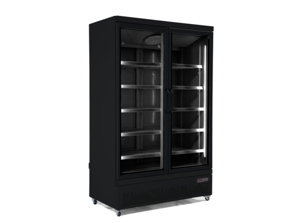 Combisteel Réfrigérateur Noir | 2 Portes en Verre | 1000 Litres | Sur Roues | 1253x710x (H)1997mm