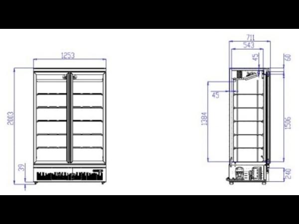 Combisteel Congélateur Noir   2 Portes en Verre   1000 Litres   Sur Roues   1253x710x (H)1997mm