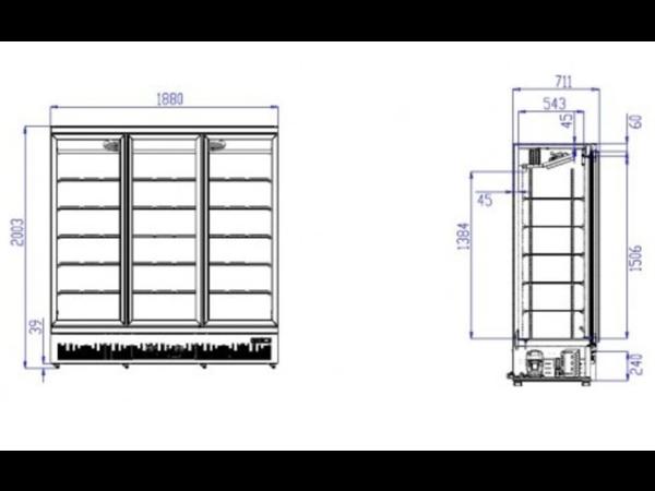 Combisteel Réfrigérateur Noir | 3 Portes en Verre | 1530 Litres | Sur Roues | 1880x710x (H)1997mm
